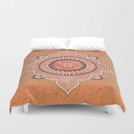 Mandala Orange Duvet Cover