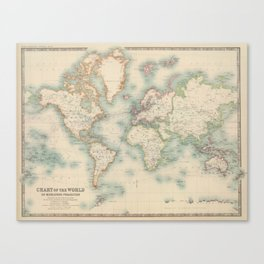 Vintage Map of The World (1911) Canvas Print