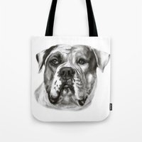 bulldog Tote Bags featuring Bulldog by Danguole Serstinskaja