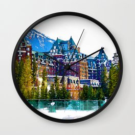 Castle in the Mountains - Banff Alberta Canada Wall Clock