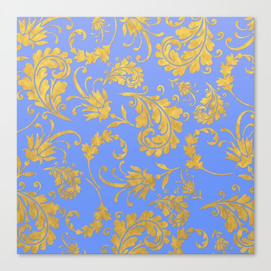 Queenlike- gold floral ornaments on blue backround-luxury pattern Canvas Print