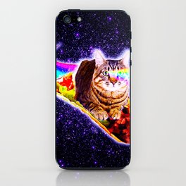 Rainbow Laser Eyes Galaxy Cat Riding Taco iPhone Skin