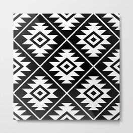 Aztec Symbol Pattern White on Black Metal Print