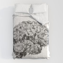 flower brain black and white Comforters