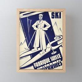 placard fabrique suisse duniformes costumes ski geneva geneva Framed Mini Art Print