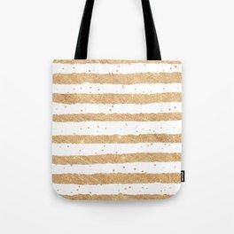 Elegant white faux gold glitter geometrical stripes Tote Bag