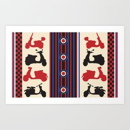 Mod pattern with scooters Art Print