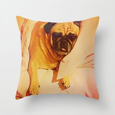 PUG LOVE: Will you bring me breakfast in bed? Throw Pillow