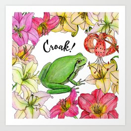 watercolor frog with lilies Art Print