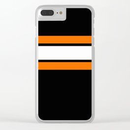 Team Colors...Orange , white stripes with black Clear iPhone Case