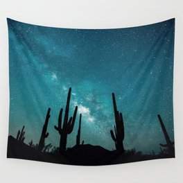 BLUE NIGHT SKY MILKY WAY AND DESERT CACTUS Wall Tapestry