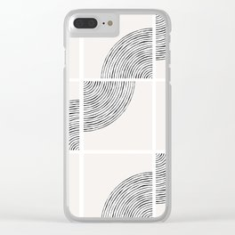 Threads; Black, White and Neutral Tile Pattern Clear iPhone Case