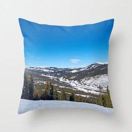 white to blue Throw Pillow