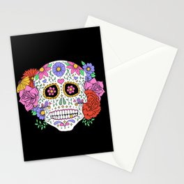 Sugar Skull with Flowers on Black Stationery Cards