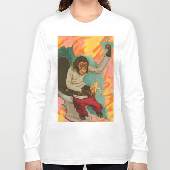 """Primitive Neurological Circuitry (Chimp on Toilet)"" Long Sleeve T-shirt"