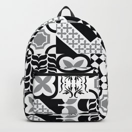 Black & White Mixed Square Tiles Patterns Backpack