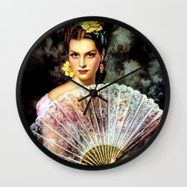 Ojos Verdes Mujer con Abanico (Green-eyed Woman with Fan) by Jesús Helguera Wall Clock