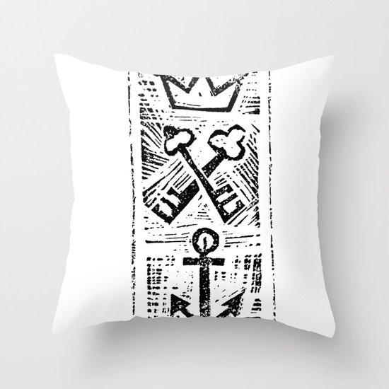 Crown Key & Anchor Throw Pillow