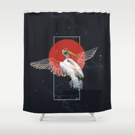 Cranes Japanese Kimono Shower Curtain