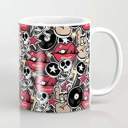 Seamles pattern. Crazy punk rock abstract background. Skulls, guitars, rock symbols. Coffee Mug