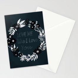 Love me . Dark background . Stationery Cards