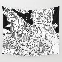 madonna Wall Tapestries featuring A Cyberpunk Madonna by Davide Caviglia