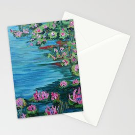 Lily Pond, Impressionism Painting, Pond Flowers Stationery Cards
