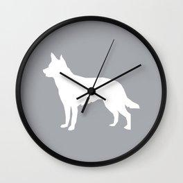Australian Kelpie dog silhouette dog breed pattern grey and white kelpie dog Wall Clock