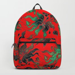 Vintage floral seamless pattern with hand drawn flowering crocus on the red background Backpack