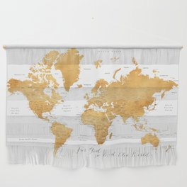 For God so loved the world, world map in gold Wall Hanging