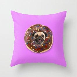 Pug Chocolate Donut Throw Pillow