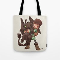 hiccup Tote Bags featuring Hiccup & Toothless - Childhood  by David Tako