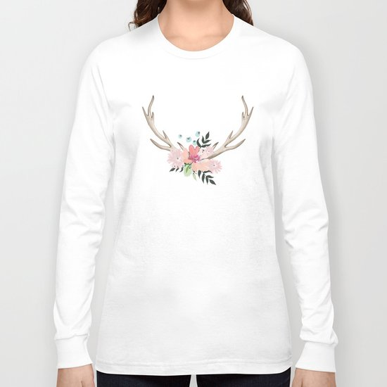 watercolor horns Long Sleeve T-shirt