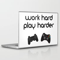 die hard Laptop & iPad Skins featuring Work hard play harder by eARTh