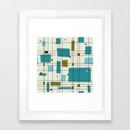 Mid-Century Modern (teal) Framed Art Print