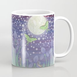 Moonlit stars, luna moths, snails, & irises Coffee Mug