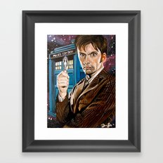 The Tenth Doctor and His TARDIS Framed Art Print