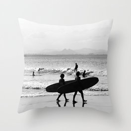 Byron Bay Surfers Throw Pillow