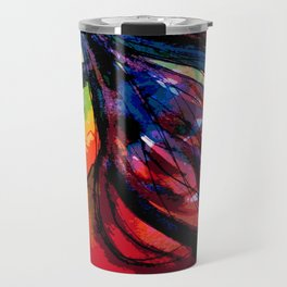 Woman in the wind Travel Mug