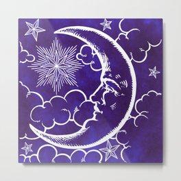 Moon vintage violet Metal Print