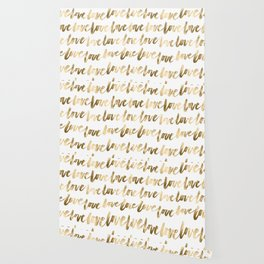 Gold Love Quote Pattern Typography Script 2 Wallpaper