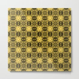 Primrose Yellow Geometric Floral Metal Print