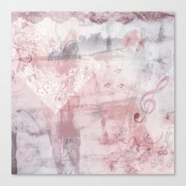 Shabby chic rose and gray pattern Canvas Print