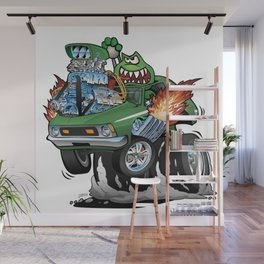 Seventies Green Hot Rod Funny Car Cartoon Wall Mural