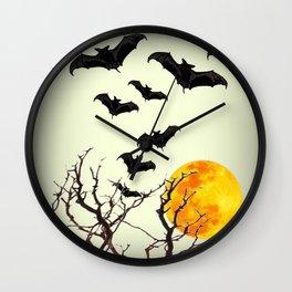 GOTHIC HALLOWEEN FULL MOON BLACK FLYING BATS DESIGN Wall Clock