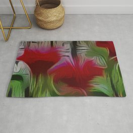 Fanciful Scarlet. Red Balm Rug