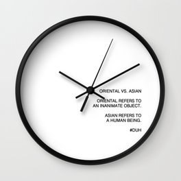 Oriental vs. Asian  Wall Clock