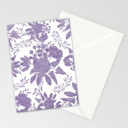 Elegant Lavender Purple White Glitter Floral Stationery Cards