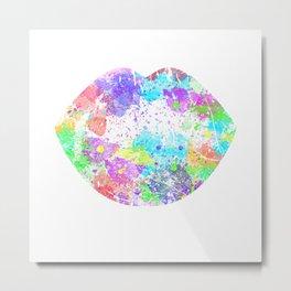 Rainbow Neon Colorful Kiss 90s Metal Print
