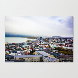 Rainbow Roofs and Buildings of Reykjavik Iceland Canvas Print